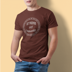 Tricou mesaj crestin Strong and Courageous - cod CMKSCM