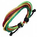 Bratara din piele si sfori Multicolora ajustabila - FBK626